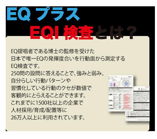 ■EQI(行動特性)検査とは EQ提唱者である博士の監修を受けた日本で唯一EQの発揮度合いを行動面から測定するEQ検査です。250問の設問に答 えることで、強みと弱み、自分らしい行動パターン、習慣化している行動のクセが数値で客観的にとらえることができ ます。これまでに1500社以上の企業で人材採用/育成/配置等に26万人以上に利用されています 。